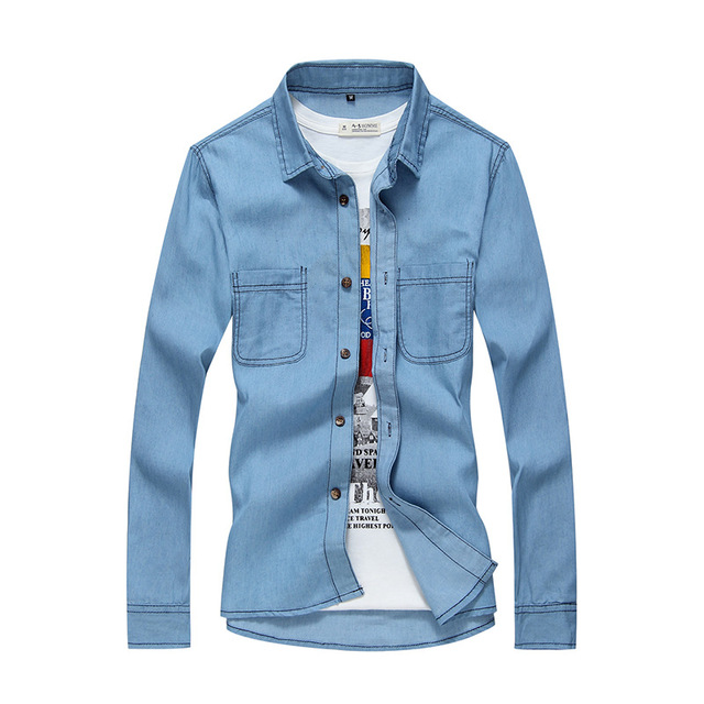 ad4b3c16d78 Long Sleeve Casual Denim Tuxed Shirts Men Jackets Leisure Military Thin  Light-Colored Camisa Chemise