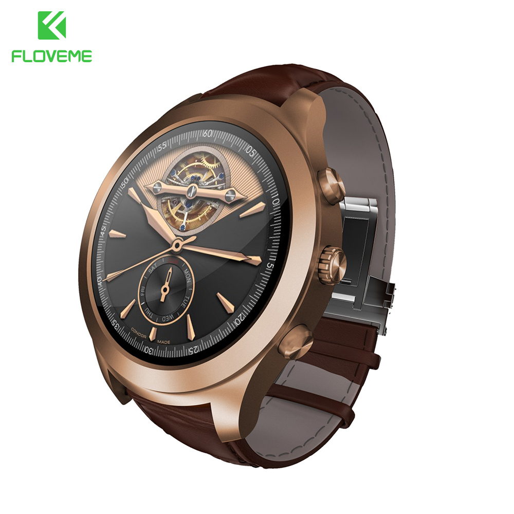 FLOVEME WiFi Smart Watch For Samsung Huawei Xiaomi Meizu Android Leather Pedometer Bluetooth Heart Rate Monitor SMS Smartwatch bluetooth smart watch heart rate smartwatch for iphone 5 6 plus 7 htc xiaomi meizu huawei samsung touch screen bluetooth watch
