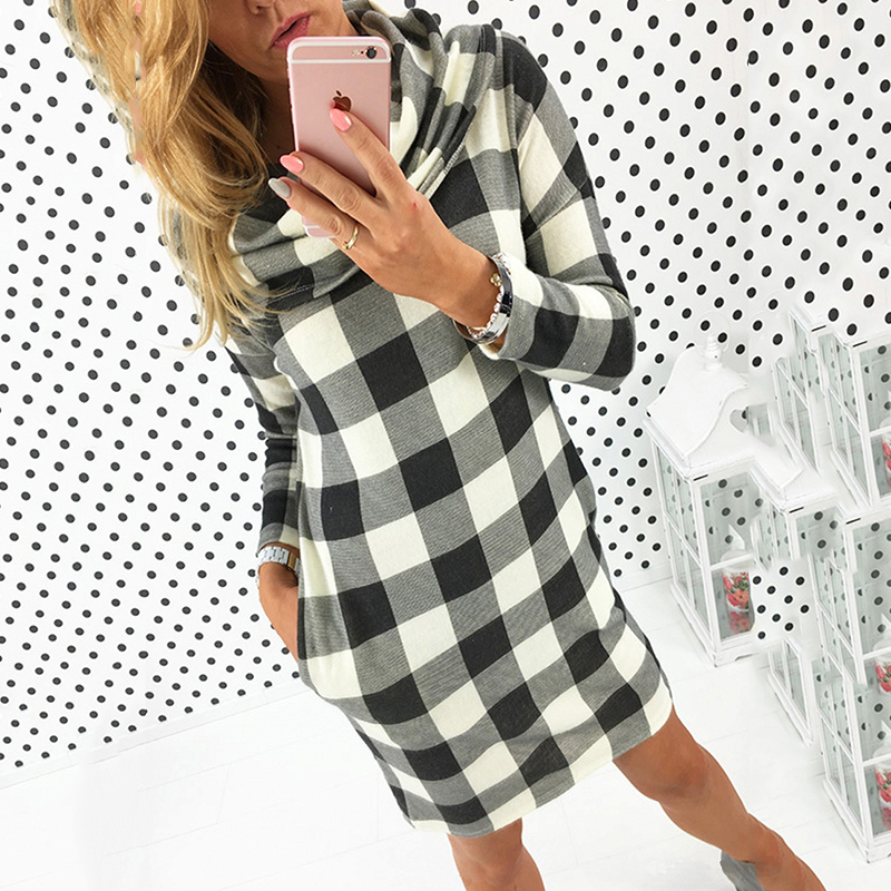244da5fa68 Fashion Chic Boho Slim Women Tartan Plaid Checkered Turtleneck Jumper Tunic  Dress Lady Pullover Sweatershirt Sweater Dresses
