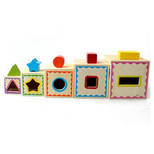 Classic Wood Shape Kit Wooden five layer shape box, childrens cognition matching, Kids intelligent early education toys