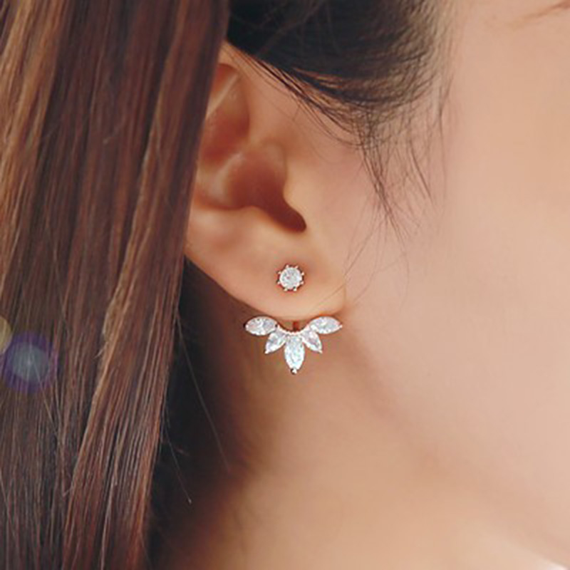 Hot Sale Crystal Double Sided Leaf Earring Fashion Ear Jacket Ear Clips Stud Earrings for Women Bijoux Jewelry Brincos Mujer