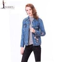 Women Denim Embroidered jacket 2018 Spring Short Women Jacket Large Size Long sleeved Single breasted Fang collar Denim Clothing