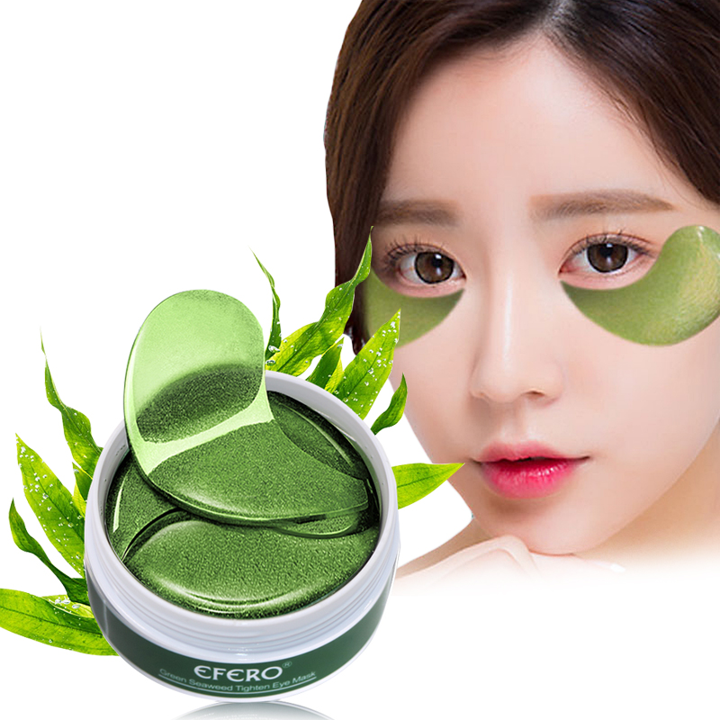 efero 60pcs Green Collagen Crystal Eye Mask Face Care Eye Patch Eye Bag Removal Dark Circles Moisturizing Gel Eye Pads in Creams from Beauty Health