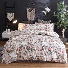 Комплект постельного белья из 3 предметов, элегантный маленький цветочный пасторальный цветок, мультяшный стиль, модные постельные принадлежности, постельное белье, пододеяльник, наволочка E