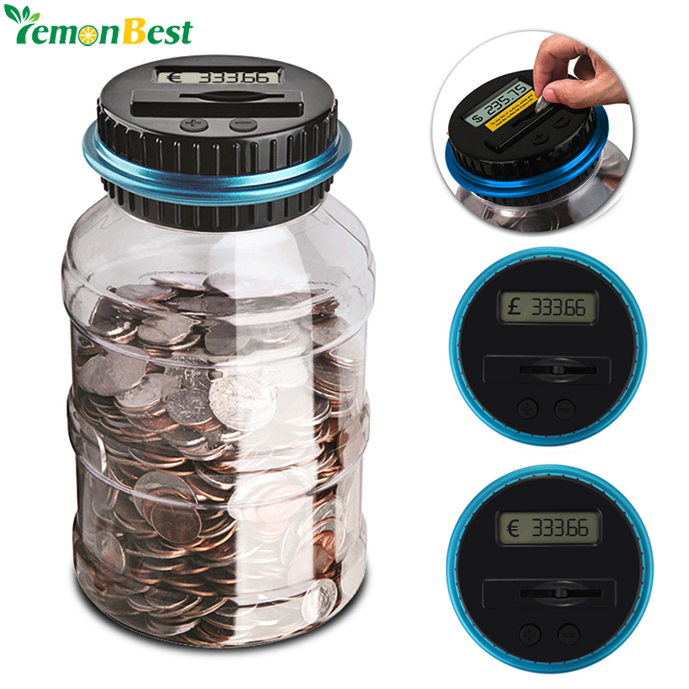 2 5l piggy bank counter coin electronic digital lcd counting coin money saving box jar coins - Counting piggy bank ...