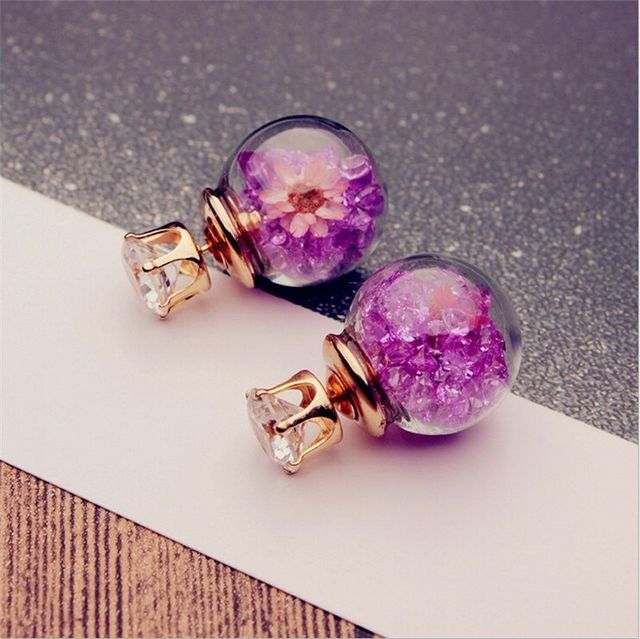 2017 Korean Fashion Women Lady Elegant Rose Glass Ball Flower Rhinestone Metal Stud Earrings For Women Jewelry Earring Set  4