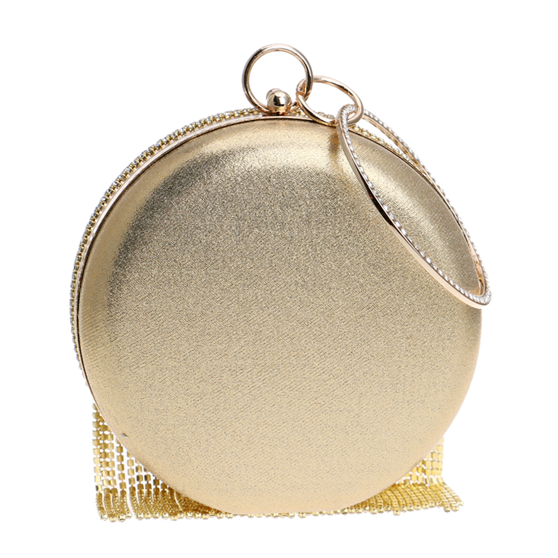 Beaded Women Evening Bag Round Party Pearl Lady Day Clutch Purse Bag Chain Shouder Rhinestones Handbags