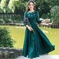 Spring Deep Green Color Lantern Sleeve Chiffon High Waist Lace Patchwork Calf Length Dress Summer New Women Elegant Bohemian