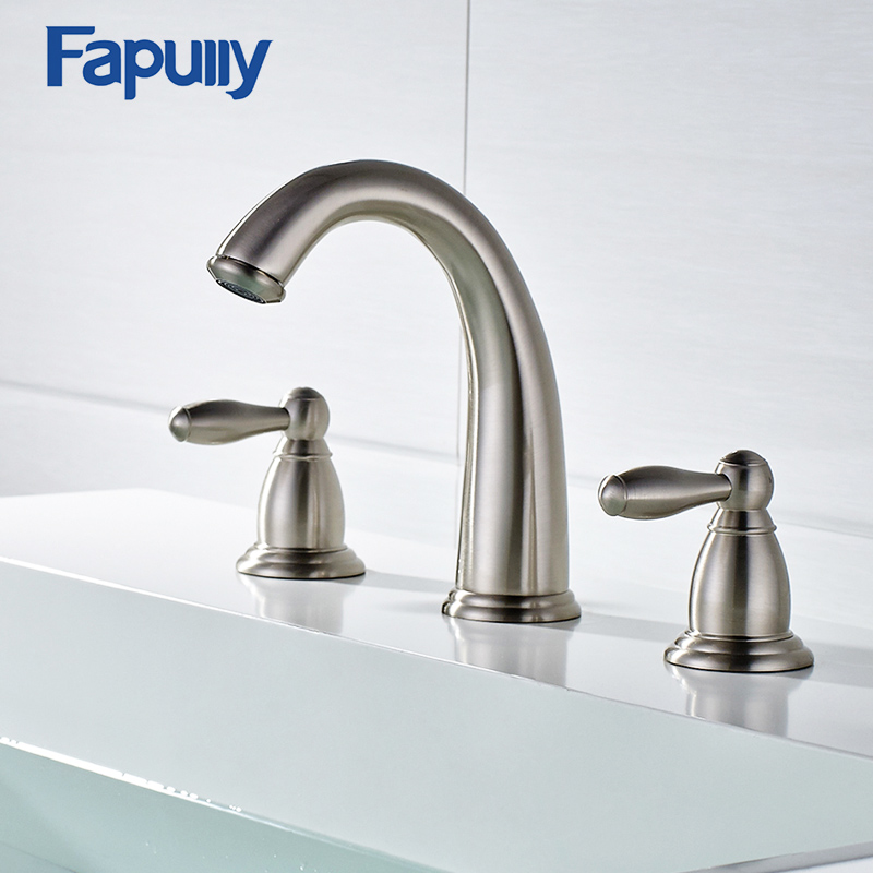 Fapully Gold Finish Basin Faucet Double-handle 3 Hole Bathroom Faucet Deck Mounted Cold Hot Tap Vintage Bathroom Mixer Tap bathroom faucet hot and cold mixer torneira do banheiro split faucet deck mounted double handle basin faucet sink tap 3 hole