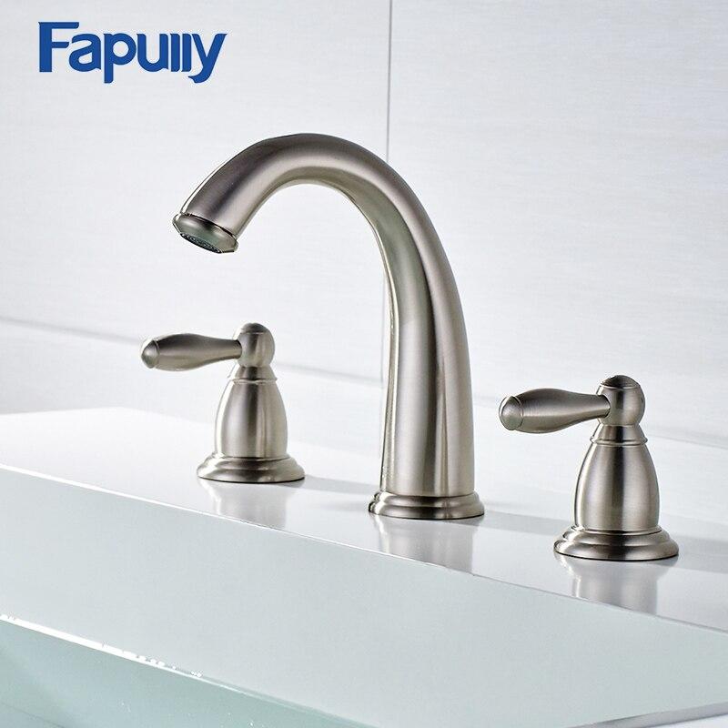 fapully bacino del bagno oro rubinetto 3 fori rubinetto lavandino del bagno deck mounted calda e