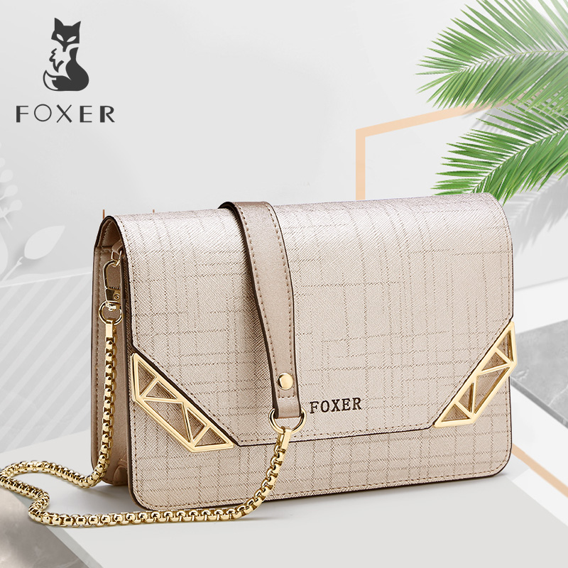 FOXER Brand Women Cowhide Leather Shoulder Bag Wanita Chain Strap Crossbody Bag Fashion Ladies Bag Female Messenger bag