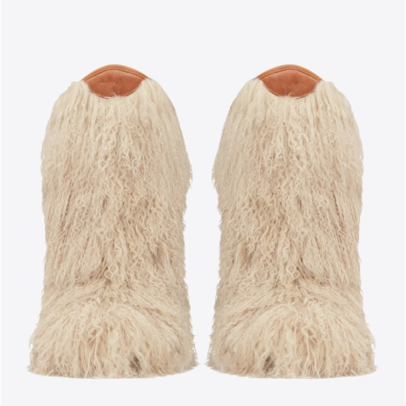 high quality snow boots genuine real hairy ostrich feather furry fur women 39 s high boot winter women snow shoes T stage show in Mid Calf Boots from Shoes