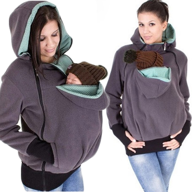 Fashion Women Autumn Winter 3 in 1 multi functional mother Kangaroo Baby Carrying hooded Patchwork Zipper