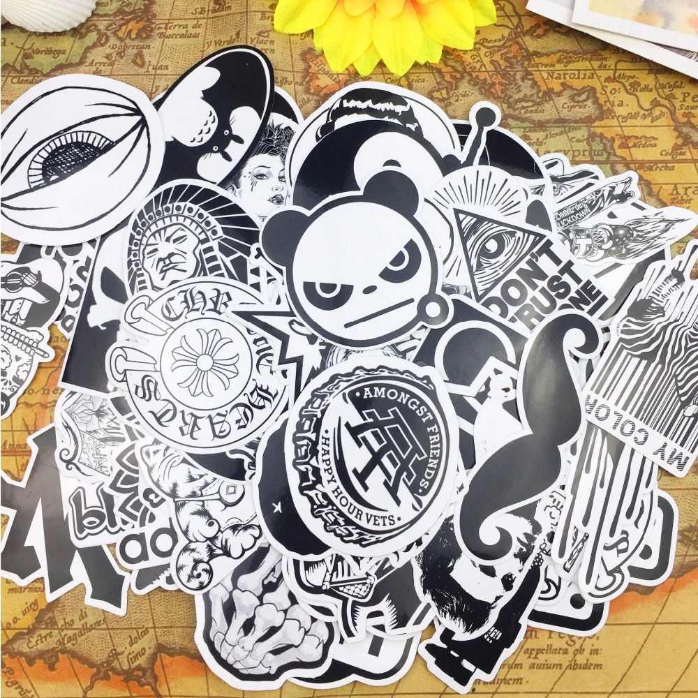 أبيض وأسود الرموز التعبيرية الجنون التصميم ملصقات adesivos المقرب pegatinas سكيت شحن مجاني محمول ملصقا للماء