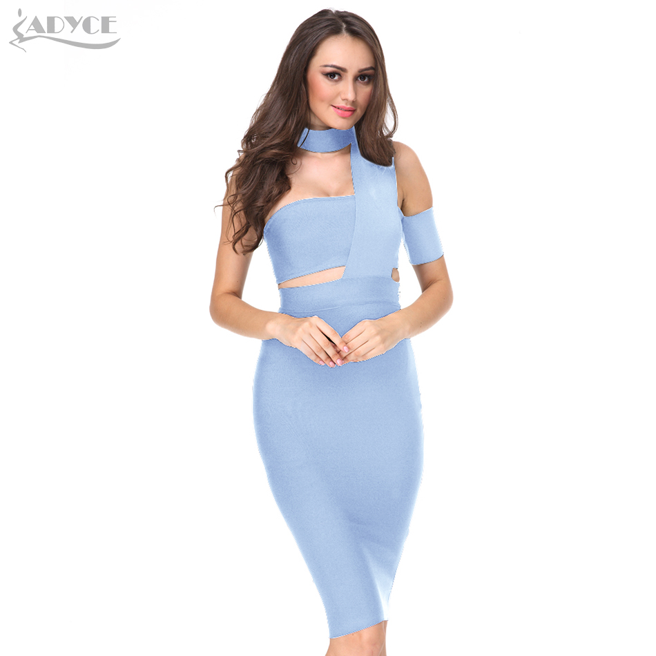 Summer 2018 New Woman Runway Party Dress Choker Top Design Inspired Tube Midi Length Party Celebrity Cocktail Bandage Dress
