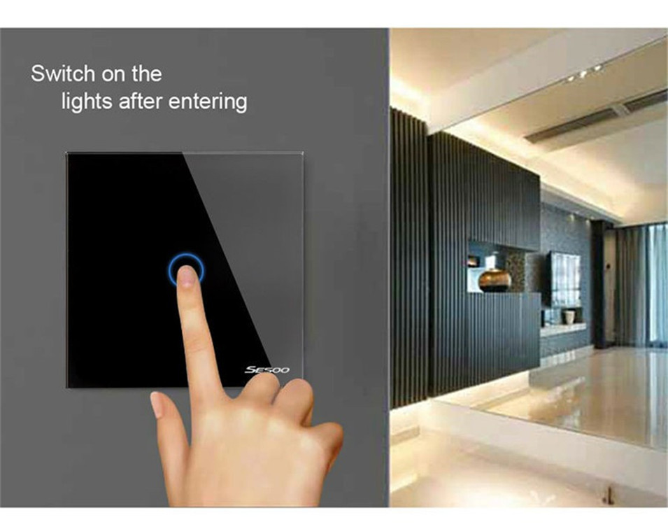 EUUK Standard SESOO Touch Switch 1 Gang 1 Way,Crystal Glass Switch Panel,Single FireWire Touch Sensing Wall Light Switch-1