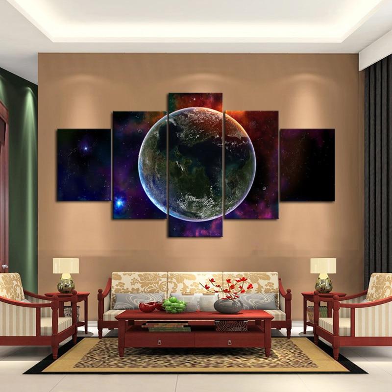 판타지 우주 벽 예술 독특한 5 패널 벽화 거실 인쇄 캔버스 무료 배송