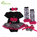 Baby Girls Clothing Sets Romper Dress + Headband + Shoes + Leg Warmer Birthday Party Clothes Bebe Princess Dresses Free Shipping