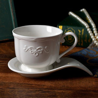 Western style coffee cup Vintage court royal ceramic coffee cup and saucer Embossed ceramic coffee cup