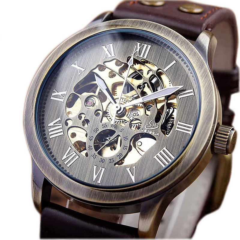 Vintage Bronze Automatic Mechanical Watch Men Fashion Style Genuine Leather Roman Scale Dial Skeleton Mechanical Mens Watches full hunter smooth cooper pocket watch skeleton roman numbers dial mechanical automatic fob hour antique gift for men women