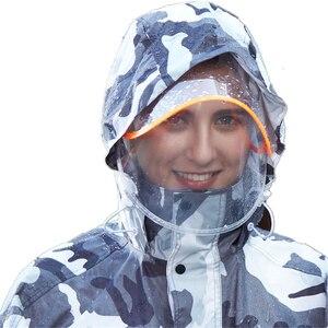 Image 3 - VILEAD הסוואה למבוגרים מעיל גשם עמיד למים חיצוני גשם מכנסיים רכיבה על אופנוע גשם מעיל שקוף כובע פונצ ו בגדי גשם סט