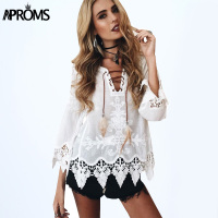 Elegant Crochet Floral Lace Blouse Shirt Women Long Sleeve White Tunic Blouses 2016 Autumn Winter Girls