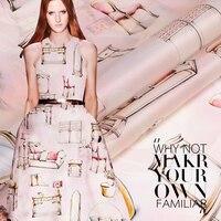 136cm Wide 12m M Trend 100 Silk Organza Satin Fabric Digital Printing Skirt Cloth Textile Free