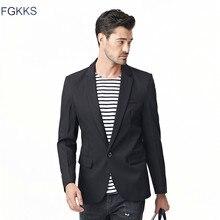 FGKKS приталенный мужской повседневный Блейзер на одной пуговице, хлопковый пиджак, мужской классический однотонный блейзер