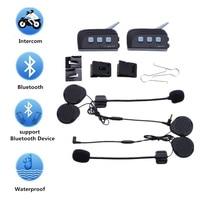 2Pcs Motorcycle Helmet Bluetooth Interphone Headset Wireless Intercom 6 Riders Intercomunicador Headset 1200M BT Interphone TTS