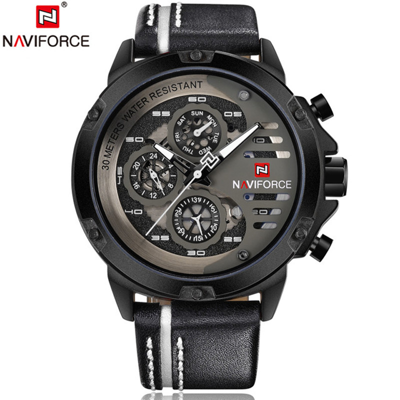 <font><b>NAVIFORCE</b></font> 24 hour Waterproof Mens Watches Top Brand Luxury Sport Quartz Watch Men Leather Military Wristwatch relogio masculino image
