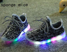 2017 sponge mice brand children boys and girls breathable  LED light shoes casual shoes