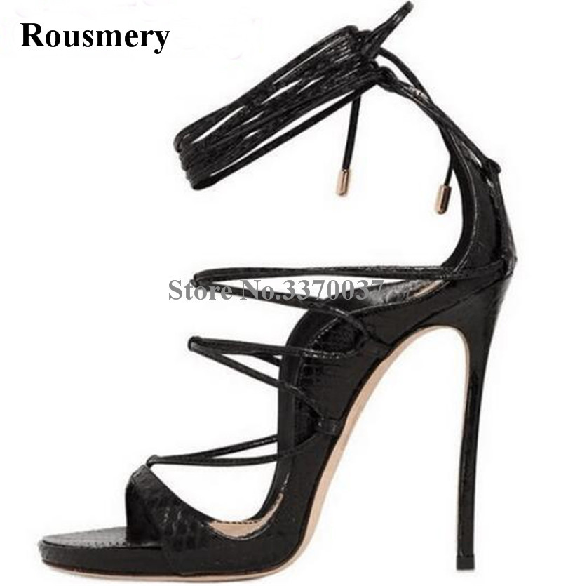 Women Summer New Fashion Open Toe Lace-up Gladiator Sandals Cut-out Pattern Leather High Heel Sandals Dress Shoes big size 10 cheap price name brand snake print leather lace up high heel sandals ankle tassel design cut out summer dress shoes