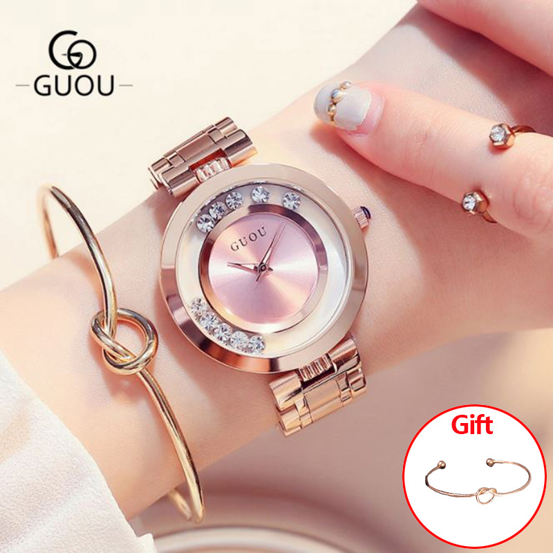 GUOU Women's Watches Ladies Watch Fashion Luxury Bracelet Watches For Women Rose Gold Rhinestone Clock Women reloj mujer saat guou glitter diamond watch women watches luxury rhinestone women s watches rose gold ladies watch clock saat relogio reloj mujer