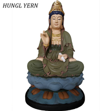 25cm Guan Yin Buddha statue Lacquerware escultura Sculpture custom Clay Wood budas decoration guanyin estatua Handcraft