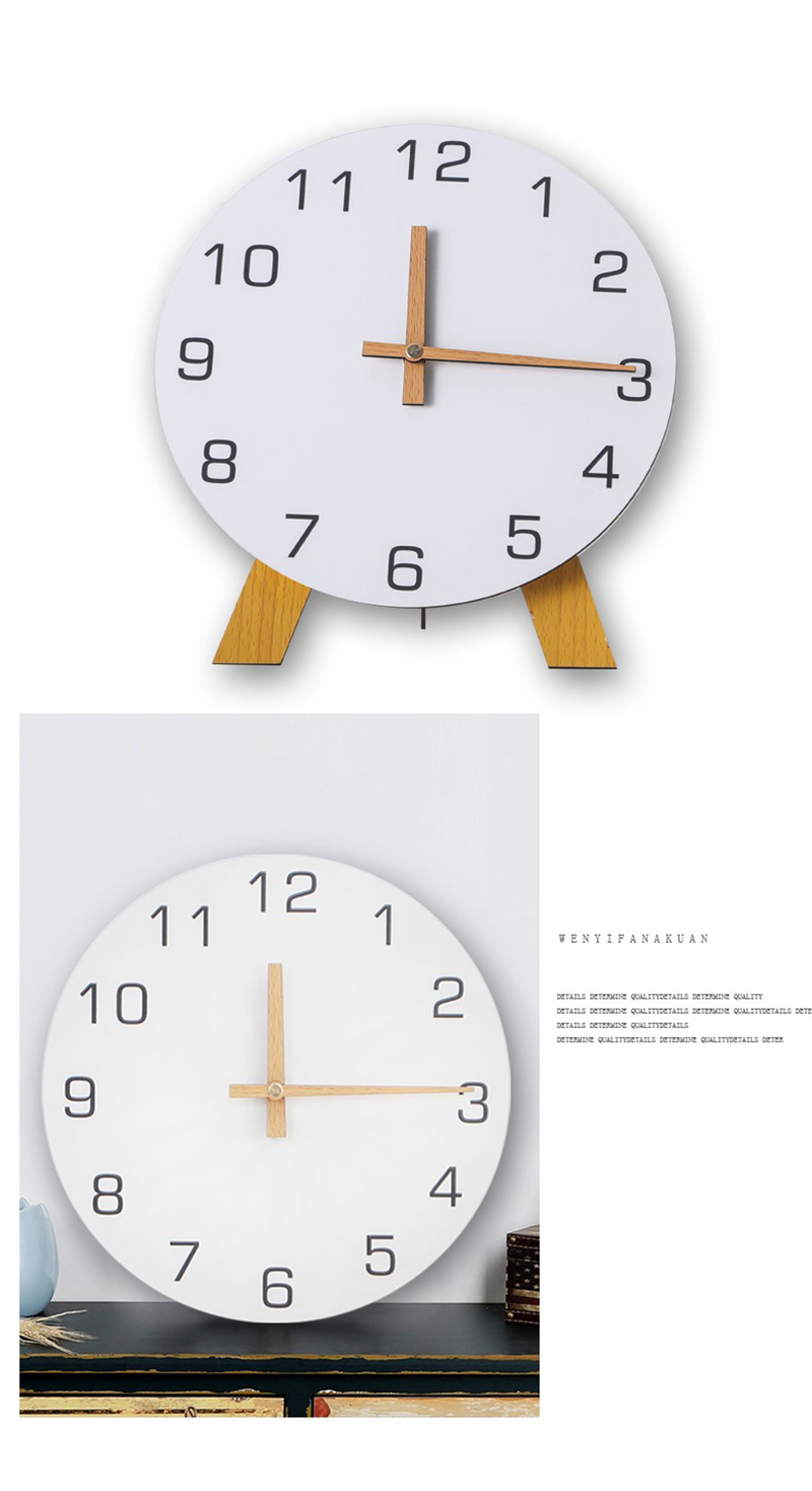 study clock watch office office table decoration flip calendar bamboo clock desk clock circular electronic desktop clock dementia clock (6)