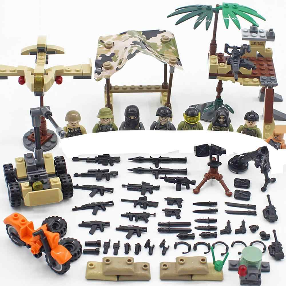hot military WW2 US Army SEALs Landing battle war vehicles Building Blocks mini weapons gun figures brick toys for children gift