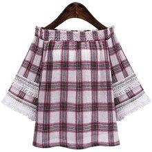 Women Slash Neck Off Shoulder Casual Shirt Plaid Three Quarter Lace Sleeve Cotton Linen Blends Top Clothing Plus Size XL-5XL
