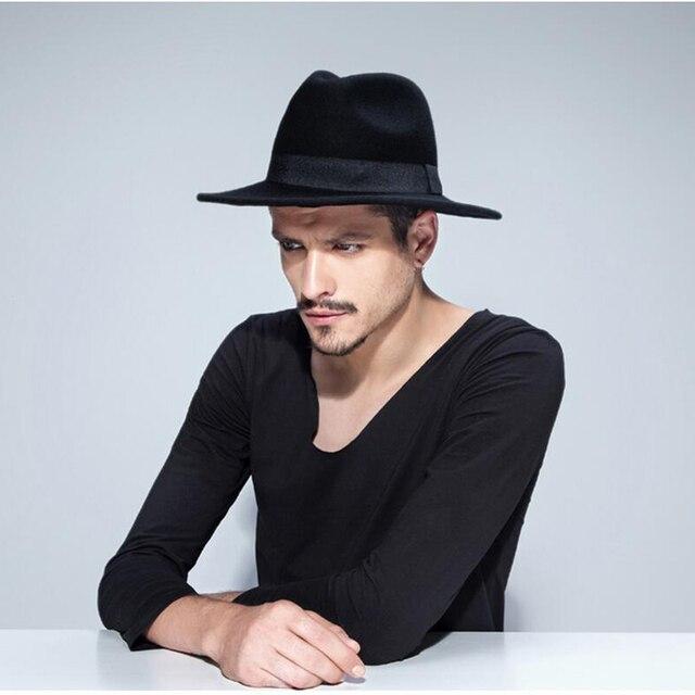 23dac20b0e5 New Arrival Wool Women's Men's Feminino Fedora Hat For Gentleman Wide Brim  Black Ribbon Sombreros Jazz Church Cap Panama Top Hat