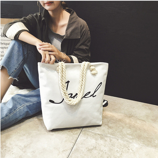 Soft large Hemp canvas tote bag large letters printed decoration ...