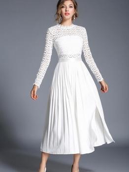 Бесплатная доставка, сексуальное шифоновое Плиссированное длинное платье в западном стиле с длинным рукавом и кружевным воротником