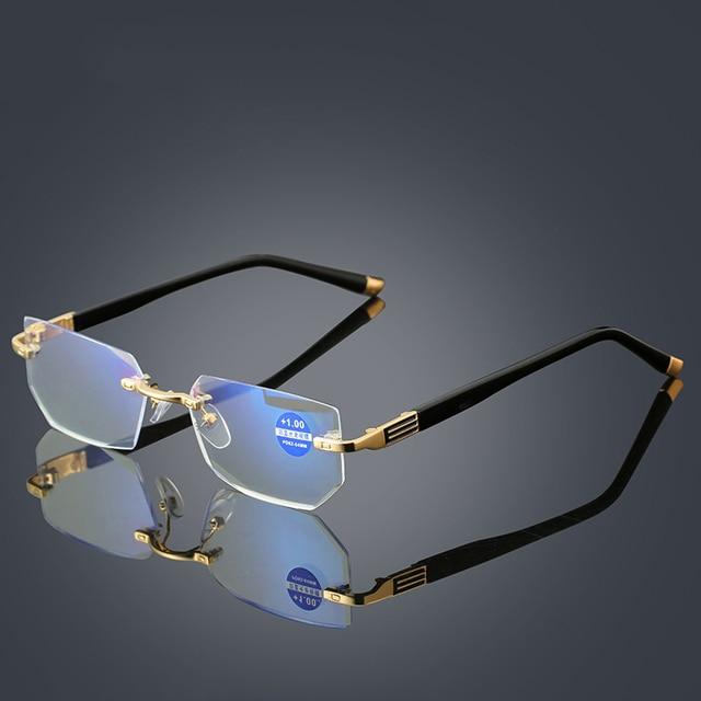 Anti Blue Ray Computer Rimless Reading Glasses Aspherical 12 Layer Coated Lenses Business Hyperopia Prescription Eyeglasses
