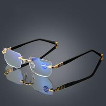 Anti-niebieski Ray komputer Rimless okulary do czytania asferyczna 12 warstwy powlekane soczewki biznes nadwzroczność okulary korekcyjne tanie tanio Antyrefleksyjną Mężczyźni Kobiety Unisex Jasne Cr-39 Stop 3 2cm 5 3cm 8718 Optical Reading Eyeglasses Frame for Men and Women