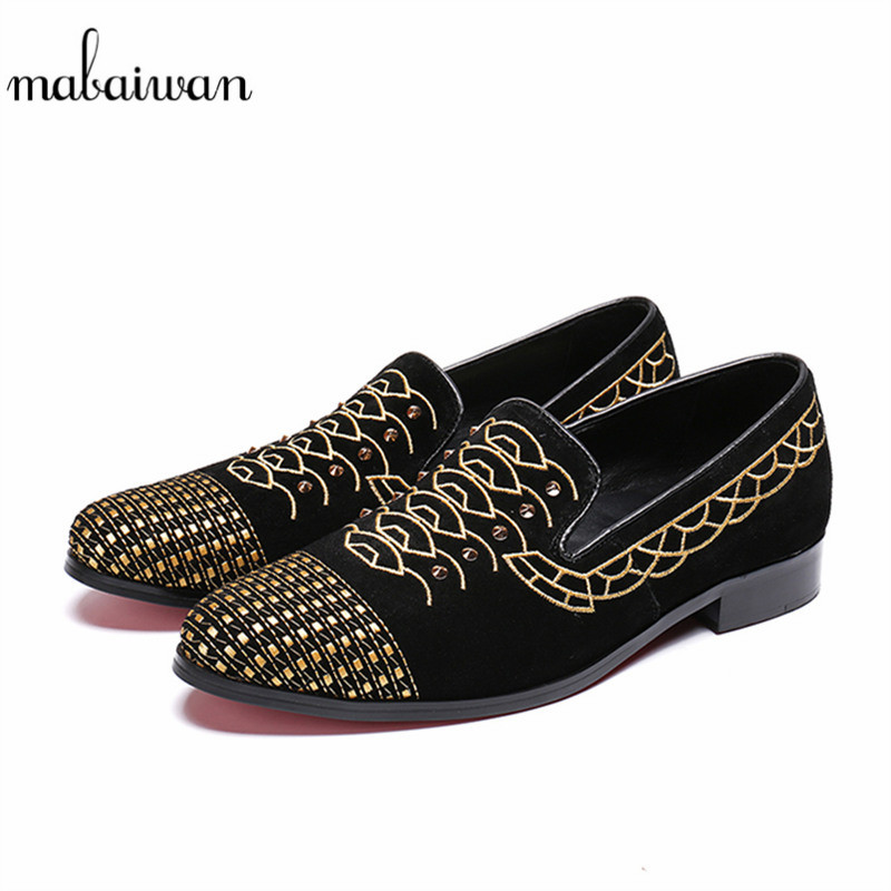 Mabaiwan New Style Handmade Luxury Men Shoes Black Suede Gold Embroidery Party Banquet Shoes Men Loafers Slip On Business Flats new fashion gold snakeskin pattern loafers men handmade slip on leather shoes big sizes men s party and prom shoes casual flats