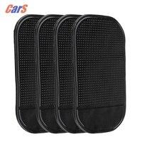 4PCS Auto Telefon Aufkleber Schwarz Silikon Auto Tablet Halter Anti Slip Matte Handy Halter Starke Adsorption Wand Schreibtisch aufkleber
