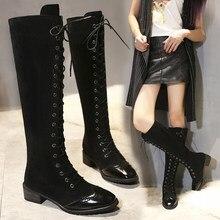 ccc2bb0d5 New Craved senhoras na altura do joelho botas altas das mulheres da  motocicleta botas cross-