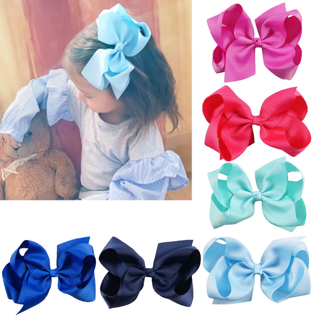 6 Inch Big Grosgrain Ribbon Solid Hair Bows With Clips Girls Kids Hair Clips Headwear Boutique Hair Accessories