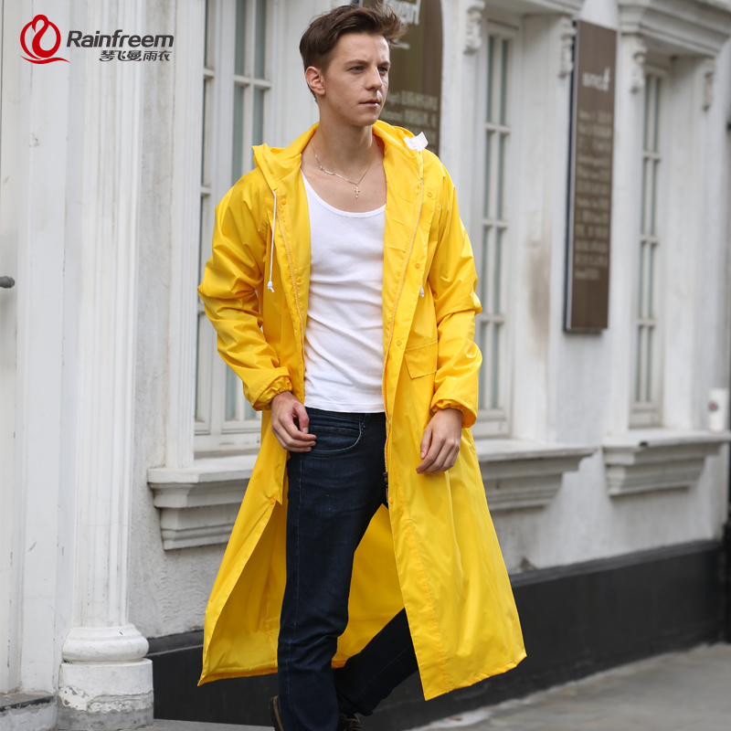 Rainfreem Men / Women Raincoat Impermeable Rain Jacket Plus Størrelse S-6XL Yellow Poncho Camping Rainwear Hooded Rain Gear Tøj