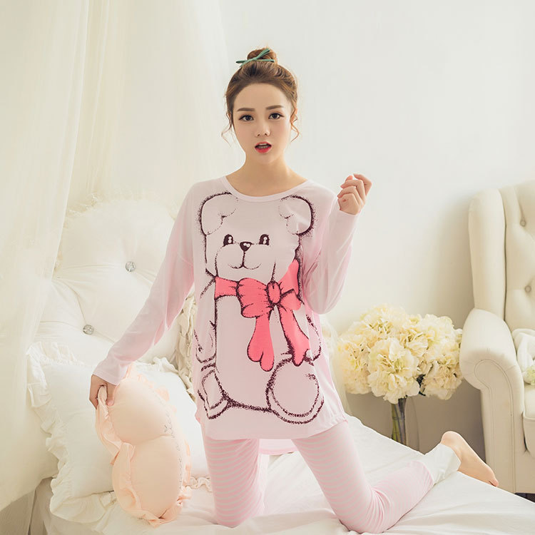 Womens Pajamas Sets 2019 Summer Round Neck Cartoon Kawaii Totoro Cartoon Sleepwear Nighty Female Casual Autumn Winter Pajamas 22