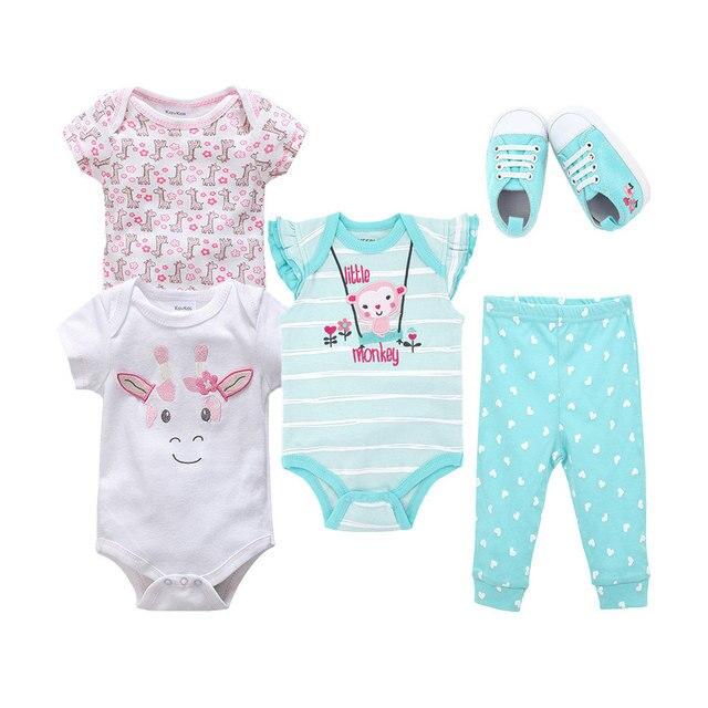 Menina Roupa do bebê de Manga Curta Conjunto Com Calças Sapatos 5 Pcs Recém-nascidos Roupas Para A Menina Infantil Primeiro Moda Bebê Menina conjunto de roupas