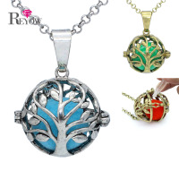 Tree Of Life Hollow Locket Magic Box Pendant Necklace Aromatherapy Essential Oil Diffuser Pompons Glow Beads